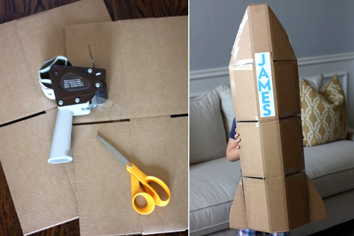 Cardboard Box Crafts For Kids - Cardboard Box Rocket