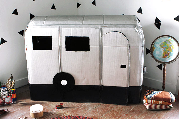 Cardboard Box Crafts For Kids - Cardboard Camper Playhouse