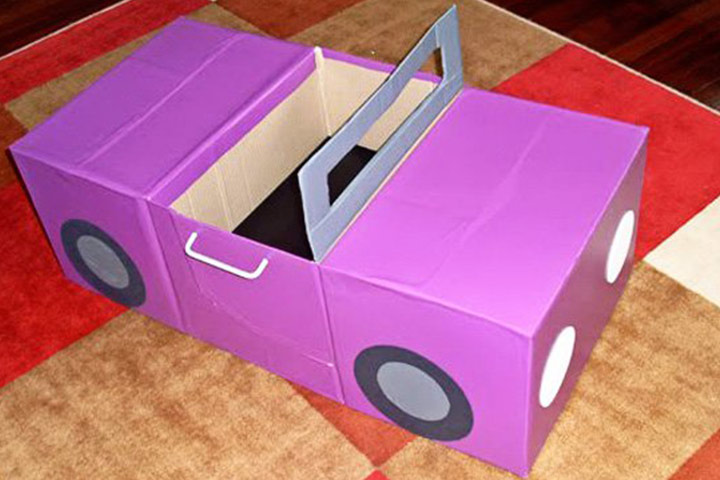 Cardboard Box Crafts For Kids - Cardboard Car