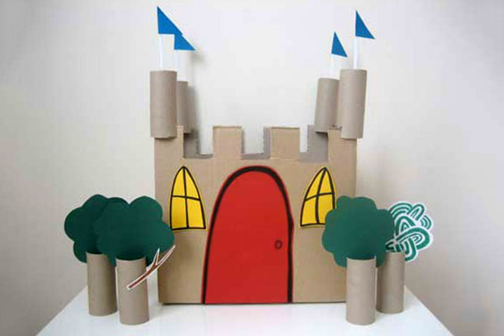 Cardboard Box Crafts For Kids - Cardboard Castle