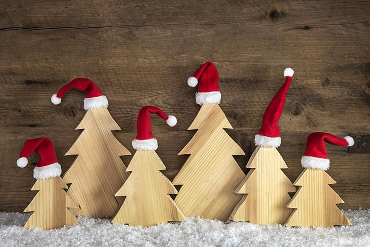 Advent Activities For Kids - Cardboard Christmas Trees With Hats