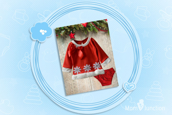 Christmas Dresses For Toddlers - Cute Snowflake Tunic And Bloomer Set