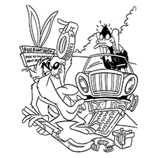Daffy Duck Coloring Pages - Daffy With Taz