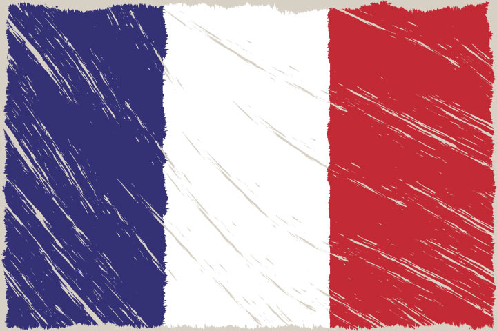 French Crafts For Kids - Draw French Flag