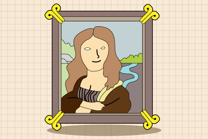 French Crafts For Kids - Draw Monalisa