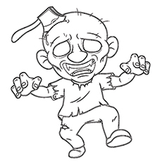 Coloring Pages of Fast Zombie Axed Printable