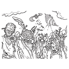 Coloring Pages of Gang Of Zombies