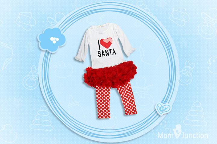 Christmas Outfits For Kids - Girls I love Santa Cotton Outfits