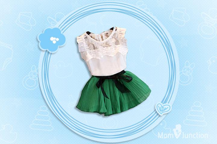 Christmas Outfits For Kids - Girls Lace And Chiffon Christmas Dress
