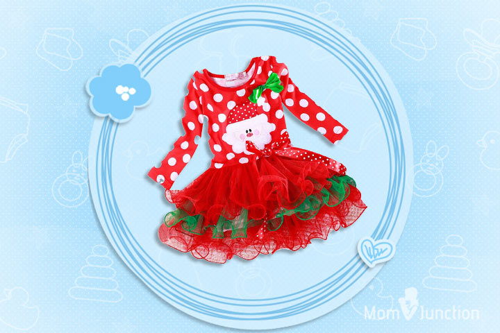 Christmas Outfits For Kids - Girls Santa Christmas Party Dress