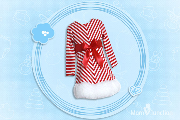 Christmas Outfits For Kids - Girls Sequins Striped Christmas Santa Dress