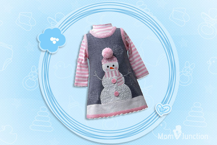Christmas Outfits For Kids - Girls Snowman Winter Holiday Jumper Dress Set