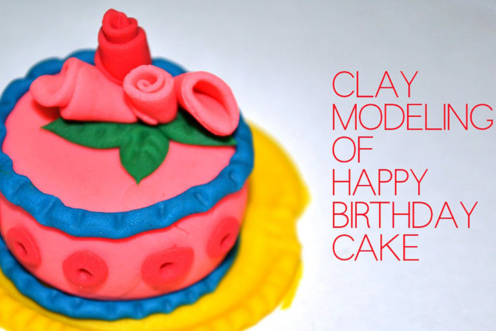 Clay Crafts For Kids - Happy Birthday Cake
