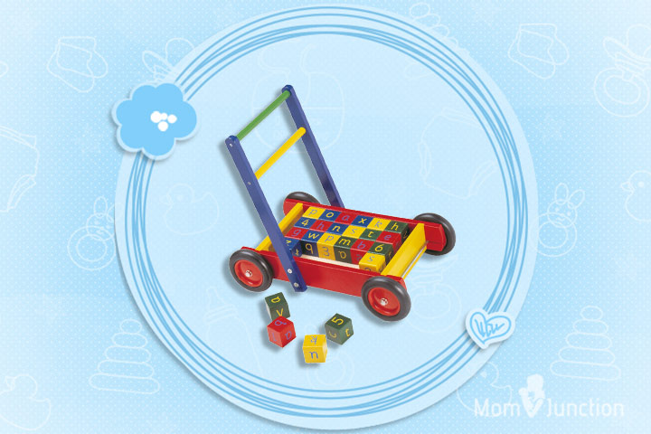 Christmas Gifts For Toddlers - John Crane wooden baby walker with ABC Blocks