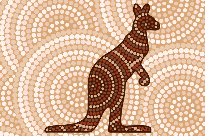 Kangaroo Crafts - Kangaroo Dot Painting
