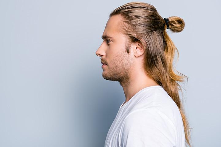 Low fade man half-ponytail