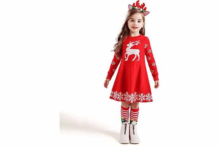 NNJXD Girls Long Sleeve Knit Sweater Dress