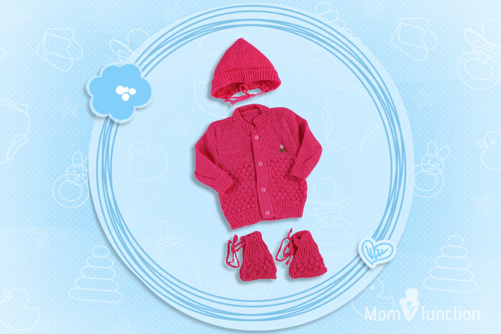 Christmas Outfits For Babies - New Born Baby Woolen Knit Baby Set