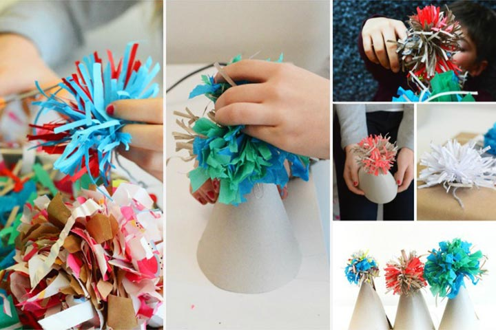 New Year Crafts For Kids - New Year Pompom Hat