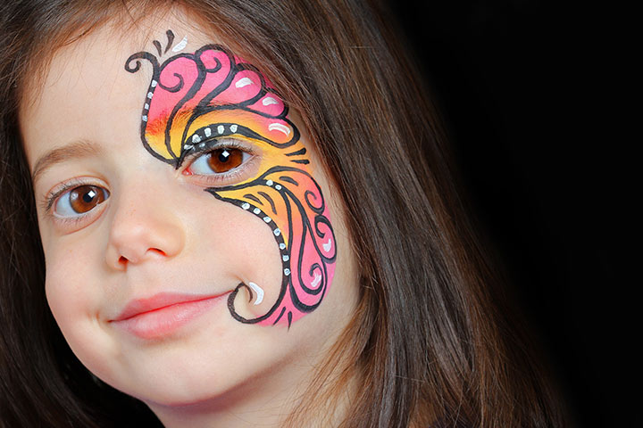 Butterfly Face Painting Designs For Kids - Pink Butterfly Making Eye As Body Of Butterfly