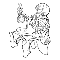 Skull Coloring Pages - Pirate Performing An Experiment