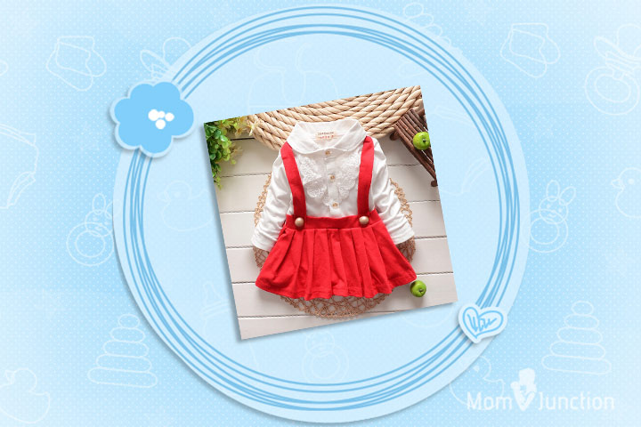 Christmas Dresses For Toddlers - Red And White Dungaree Dress