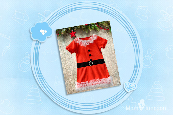 Christmas Dresses For Toddlers - Red And White Fur Frock For Christmas