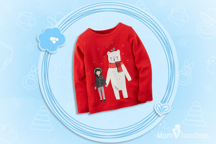 Christmas Dresses For Toddlers - Red And White Winter Tee