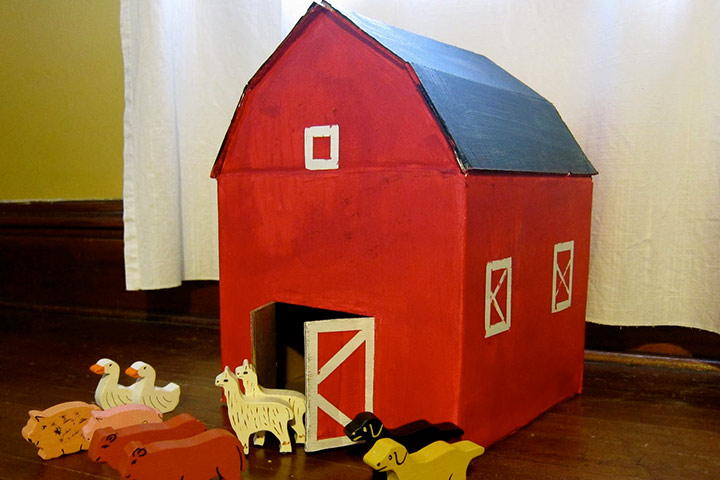 Cardboard Box Crafts For Kids - Red Cardboard Barn