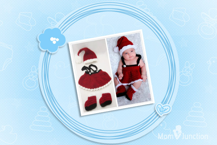 Christmas Outfits For Babies - Red White And Black Knit Christmas Santa Claus Frock Set