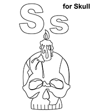 Skull Coloring Pages - S For Skull