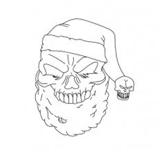santa skull coloring images