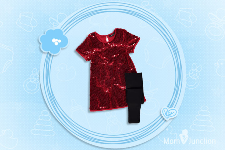 Christmas Outfits For Kids - Sequin Dress and Leggings Set