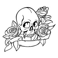skull coloring pages skull and roses tattoo