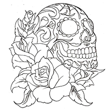 Sugar Skull With Roses Coloring Pages - clipart finders