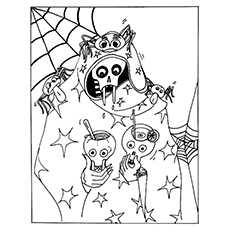 Skull Coloring Pages - Skull Drinking From Skull Cups