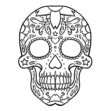 skull coloring pages sugar skull - Sugar Skull Coloring Page