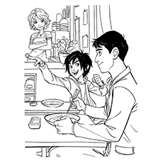 Hiro Cass And Tadashi Hamada Coloring Page Of Big Hero 6
