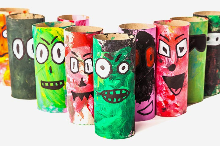 Recycled Crafts For Kids - Toilet Paper Roll Cute Monster Gang