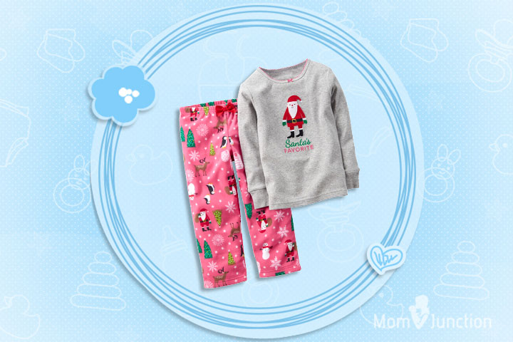 Christmas Dresses For Toddlers - Two Piece Cotton And Fleece Pajamas