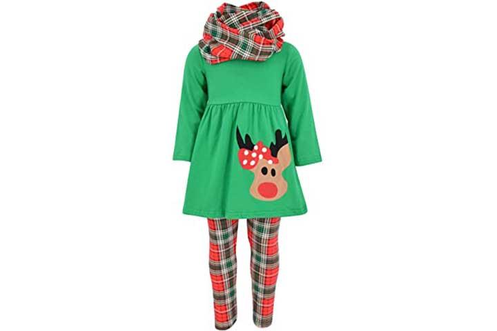 Unique Baby Girls 3-Piece Christmas Rudolph Set