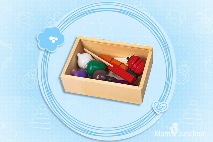 Christmas Gifts For Toddlers - Viga Wooden Cutting Vegetables Box & Chopping Board Set