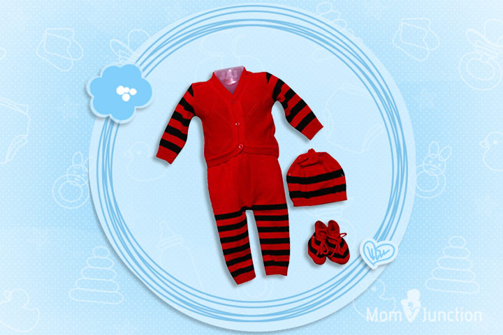 Christmas Outfits For Babies - Warm Costume In Red And Black For Christmas