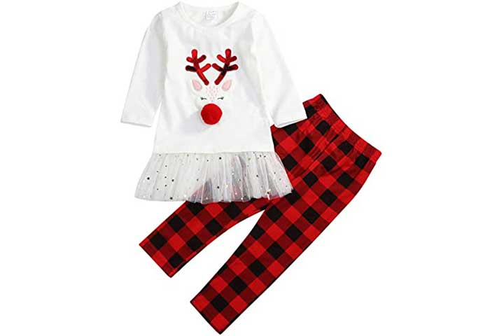 Younger Tree Little Girls Christmas Clothes Set
