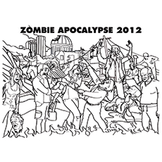 Coloring Sheet of Zombie Apocalypse