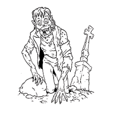 Zombie Picture Near Grave Yard Coloring Pages