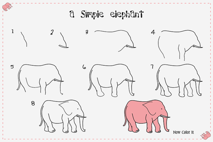 How To Draw An Elephant For Kids - A Simple Elephant