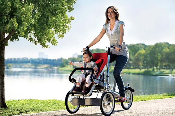 A bike stroller is a great way to go bike riding on a sunny day out.