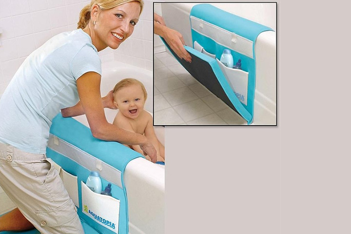 A padded bath caddy is a brilliant way to avoid your knee getting strain out any time you give your baby a bath.