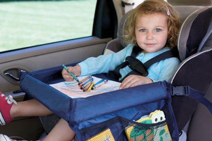 A snack or an activity tray could save you from boredom rants on a long drive.
